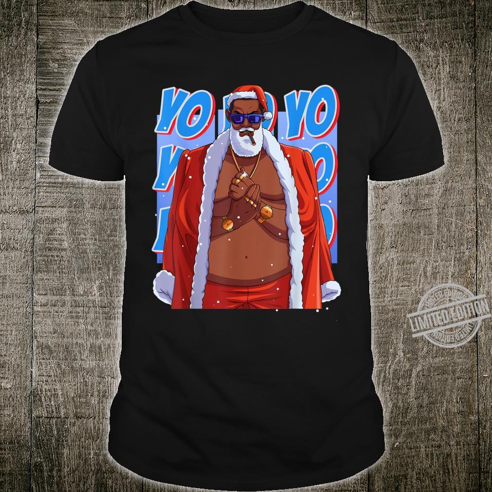 Santa Claus Black Gangster Hip Hop Christmas Shirt