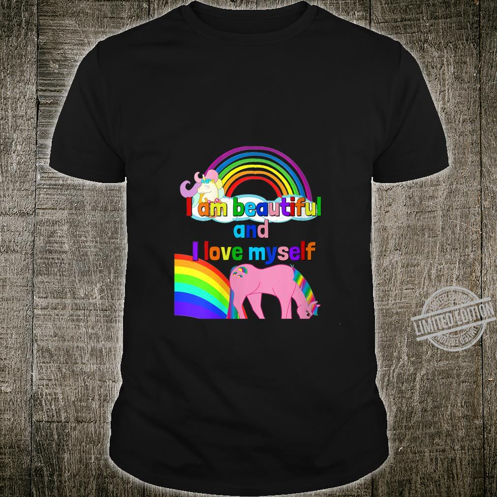 Womens I Am Beautiful And I Love Myself Unicorn Rainbow Shirt
