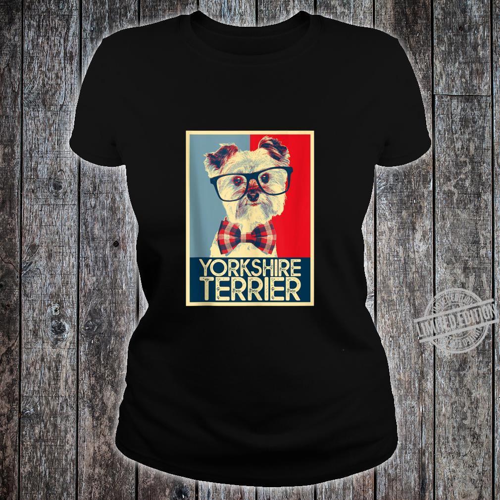 Yorkshire Terrier Yorkie Nerd Pop Art Dog Shirt ladies tee