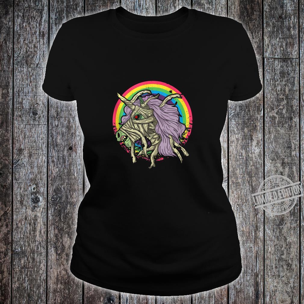 Zombie Mummy Unicorn Idea Rainbow Halloween Shirt ladies tee