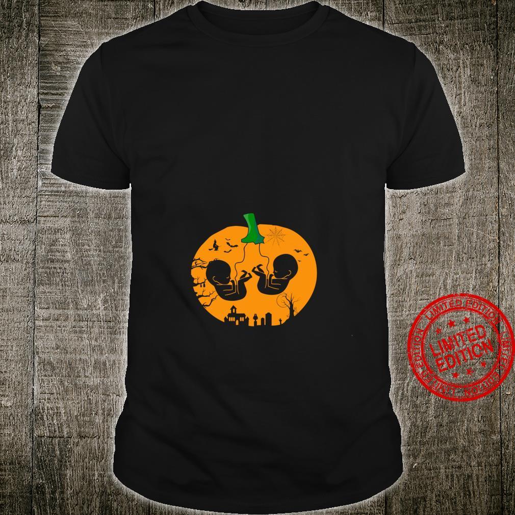 Zwillinge Schwangerschaft Halloween Lustige Kürbis Zwilling Langarmshirt Shirt